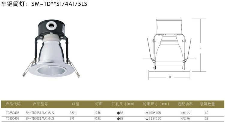 Simon (SIMON) vertical screw drive 2.5-inch brushed aluminum downlight TD250403
