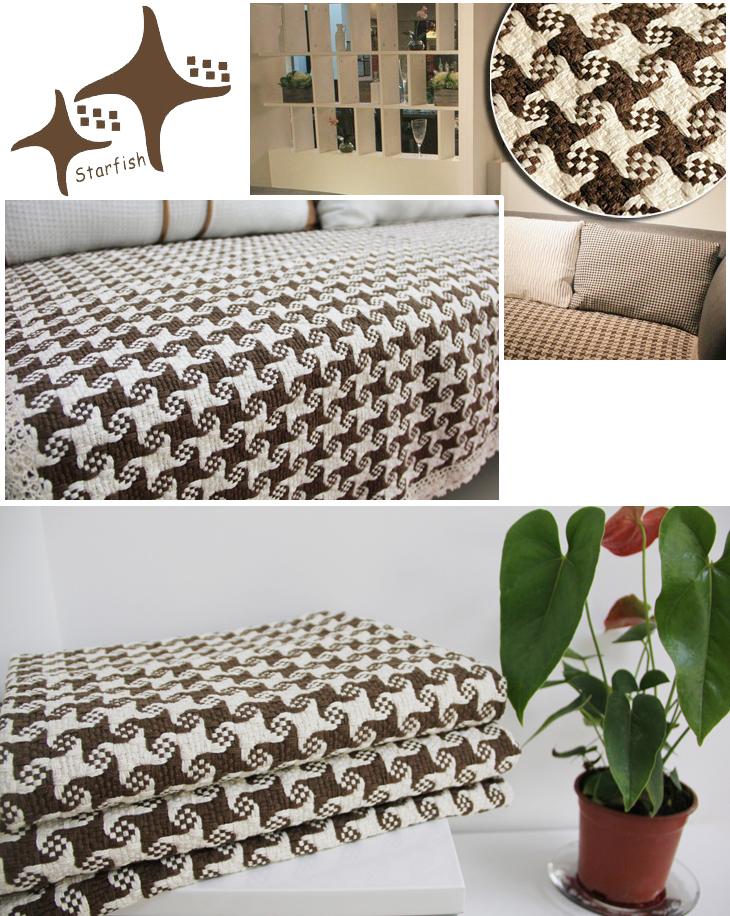 怡澜棉质花边沙发垫90 150cm海星纹咖色
