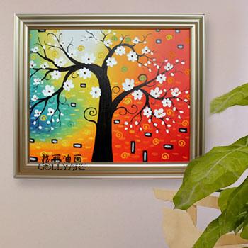 画 发财树现代抽象画配香槟色画框60x70cm