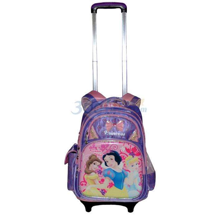【迪士尼书包】disney迪士尼公主涤纶学生拉杆书包紫