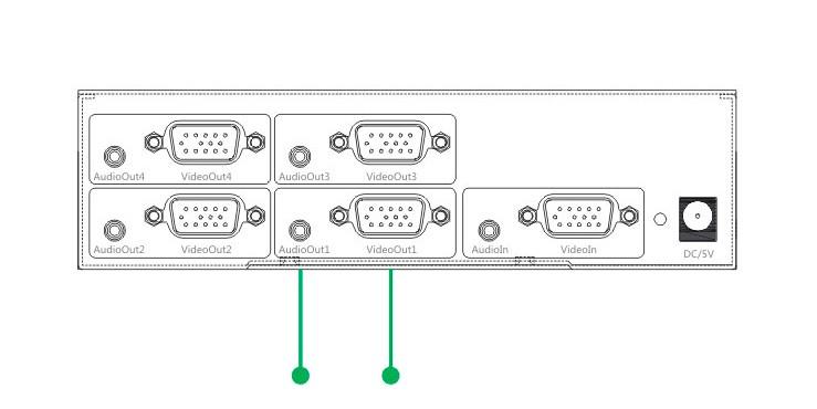 vga一进四出1x4出分配器带音频输出