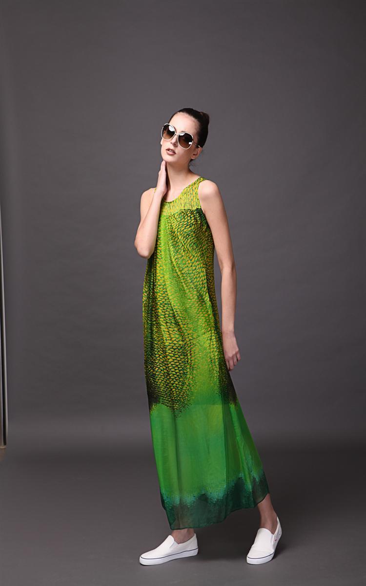 芮婕女装*2015年夏季新款欧美风蛇皮纹长裙 女式时尚真丝印花连衣裙