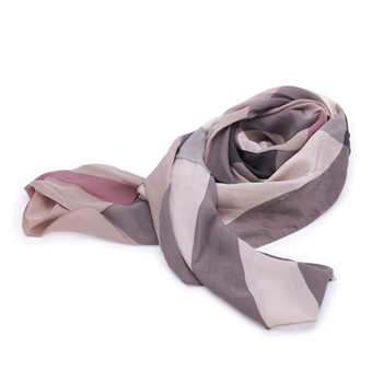 BURBERRY 巴宝莉女式格纹棕色真丝围巾 383