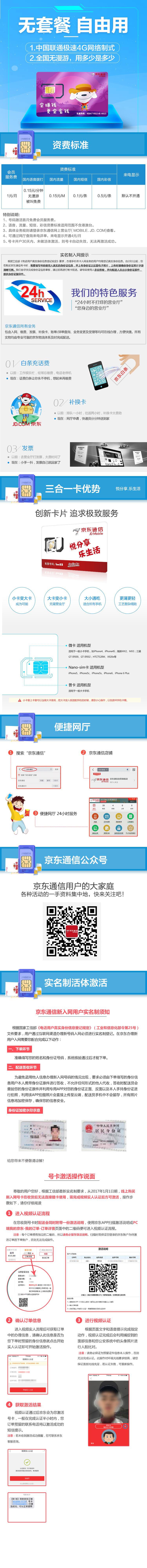 京东通信 1元手机卡 联通4G网络,国内无漫游,低月租 号卡 电话卡 手机卡