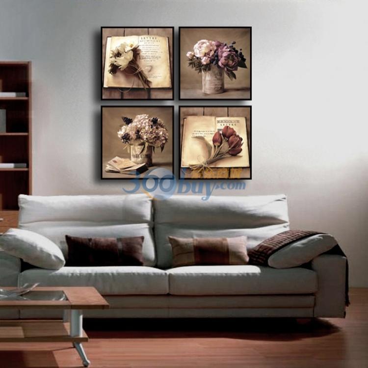 装点诗的边框-稀颜装饰画无框画4件套花语诗篇40CM 40CM2011 004