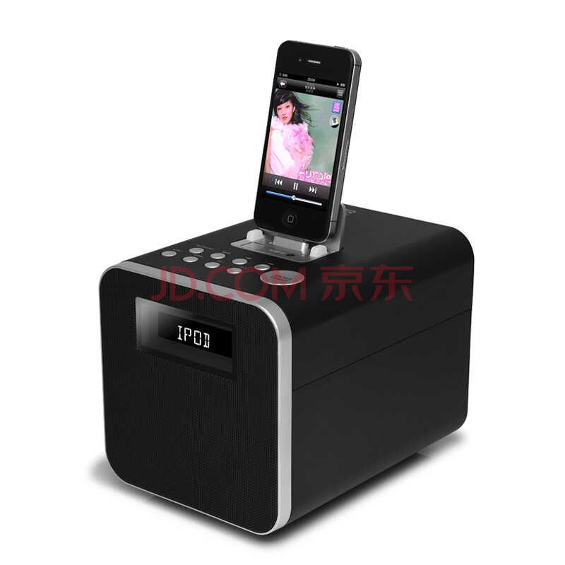 RSR DS431 苹果基座充电音响 支持ipad/iphone FM/闹钟/AUX/睡眠功能/显示屏  炫酷黑)