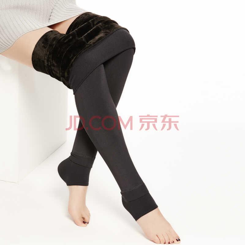 南极人(Nanjiren)加绒加厚高腰小脚裤连裤袜冬季打底裤女款均码深灰色