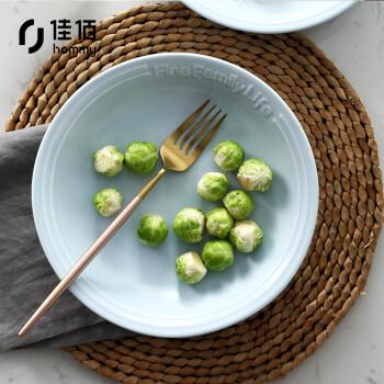 佳佰 2个装8英寸汤盘饭盘深盘菜盘子 陶瓷餐具 life个性陶瓷餐具