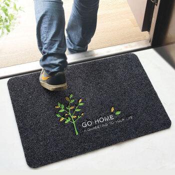 富居地垫  刺绣门垫 厨房垫 浴室吸水防滑垫脚垫 40*60cm平安树(深灰)