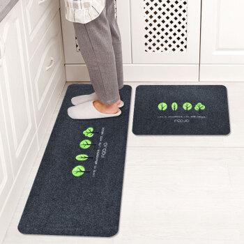 FOOJO刺绣厨房垫套装地垫吸水防滑脚垫 40*60+40*120cm树林