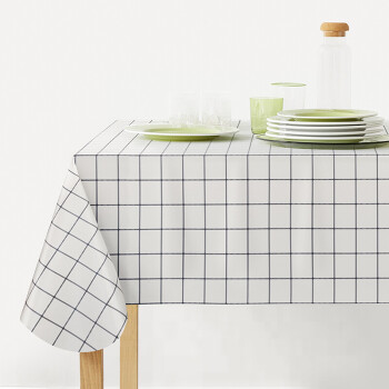 FOOJO防水防油桌布 免洗PVC桌布简约餐桌布艺隔热餐桌垫 135*180cm 黑白格