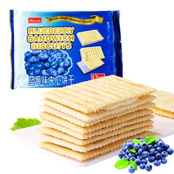铁尺(Biando) 蓝莓味苏打夹心饼干 休闲零食蛋糕面包甜点心小吃 实惠分享装 324g