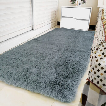 FOOJO客厅地毯茶几蜜桃绒丝绒地垫床边毯卧室地毯飘窗垫 80*160cm烟灰色