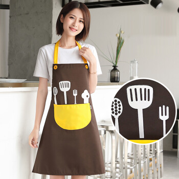 FOOJO背心式围裙 防水防油可爱时尚男女韩版围裙罩衣 咖+黄
