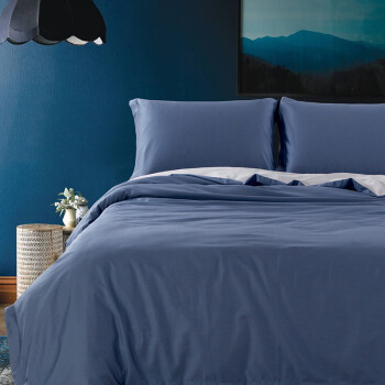 京造  60s高支缎纹四件套纯棉被套床单枕套全棉床上套件 1.5m床  灰蓝