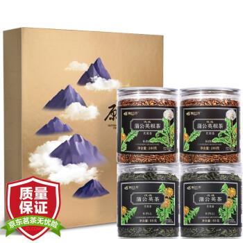 长白工坊 长白山蒲公英茶 蒲公英根茶 4罐礼盒套装组合 730g