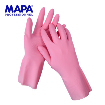 MAPA 洗碗洗衣橡胶手套 耐用防水超薄植绒乳胶手套 VITAL115胶皮手套 厨房家务手套 粉色1付 8码