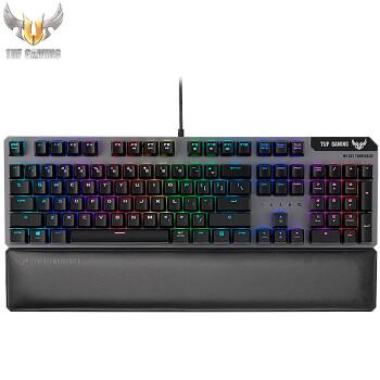 华硕 ASUS TUF GAMING电竞特工K7黑色机械轴游戏键盘台式机电脑有线背光RGB金属面板磁吸式掌托段落感键轴