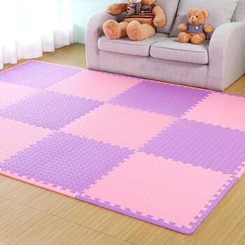 富居 儿童爬行垫12片套装 拼图拼接地垫拼块客厅卧室地垫 30*30cm粉紫12片(约1.08平米)
