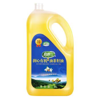 润心 有机油茶籽油5L 食用油 低温冷榨100%山茶油 餐饮用油