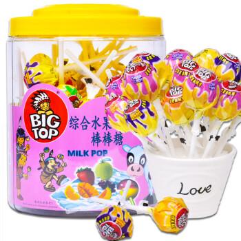 马来西亚进口BIG TOP综合水果牛奶味棒棒糖礼盒60支装 休闲零食儿童糖果年货