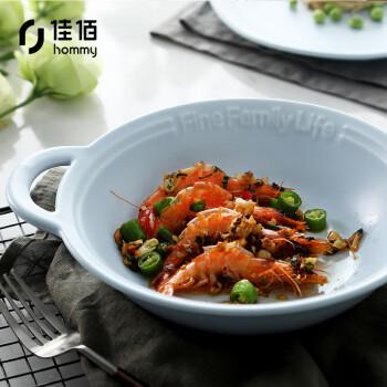 佳佰 10英寸双耳防烫深汤盘浅锅菜盘子 陶瓷餐具 life个性陶瓷餐具