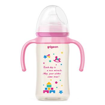 贝亲(Pigeon) 奶瓶 PPSU奶瓶 新生儿 把手奶瓶 宽口径PPSU奶瓶 婴儿奶瓶 240ml(粉色瓶盖) AA127 M码奶嘴