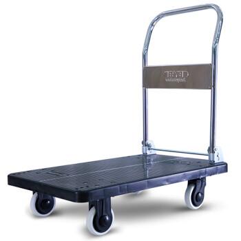 搬运宝 CQ-DH8 超轻平板车折叠手推车拖车小推车小拉车拉杆货车塑料搬运车 大号精致静音款90x60cm 承重700斤