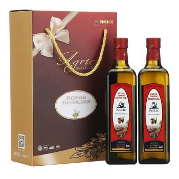 希腊 AGRIC阿格利司 特级初榨橄榄油750ml*2瓶 (京东定制方瓶)精装礼盒 新老包装随机发放