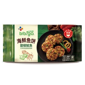必品阁(bibigo)甜椒鱿鱼海鲜鱼饼 240g(8个 早餐 儿童食材 方便速食)