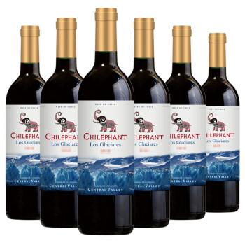 智利进口红酒 智象冰川赤霞珠干红葡萄酒750ml*6瓶 整箱装