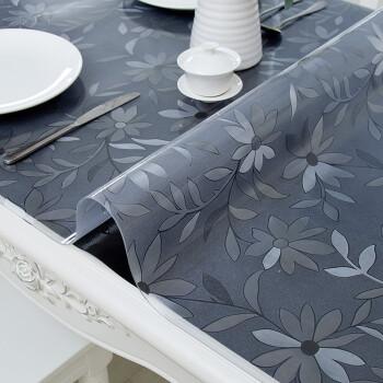 富居防水防油pvc软玻璃桌布桌垫 免洗水晶透明磨砂防烫隔热台布餐桌垫80*130cm波斯菊