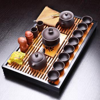 言艺茶具套装紫砂功夫茶具陶瓷旅行整套茶壶茶杯茶海实木茶盘茶台