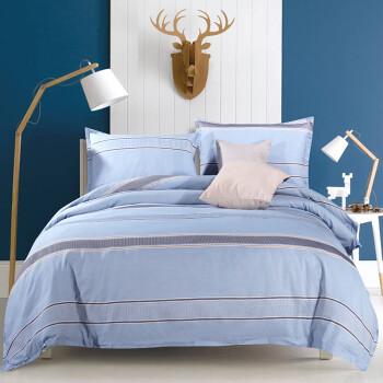 京造 华夫格提花四件套 简约被套床单被罩 纯棉床上用品套件1.5米床