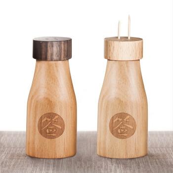 金隆兴(glosen) 创意家用实木牙签筒 欧式木质牙签盒 小酒瓶牙签罐 胡桃木色