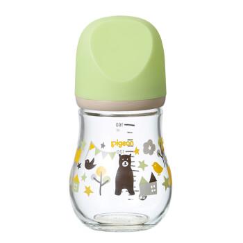 贝亲(Pigeon) 奶瓶 玻璃奶瓶 新生儿 宽口径玻璃奶瓶 婴儿奶瓶 臻宝奶瓶 160ml(熊 ) 自然实感SS码奶嘴