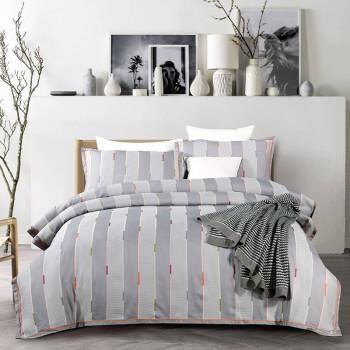 京造 华夫格提花刺绣四件套 被套床单被罩 纯棉床上用品套件1.5米床