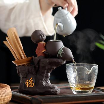言艺 茶道六君子茶漏一体 茶宠摆件 竹制功夫茶具配件 彩砂陶瓷小和尚 福多多功能茶道茶漏
