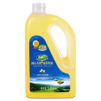 润心 有机油茶籽油1.25L 食用油 低温压榨100%山茶油 餐饮用油
