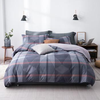 京造 纯棉暖绒四件套  被套床单枕套 床上用品套件 1.5米床 叠语
