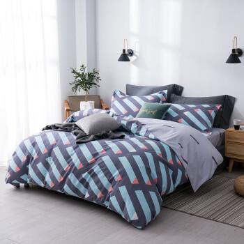 京造 纯棉暖绒四件套  被套床单枕套 床上 用品套件 1.5米床 维亚