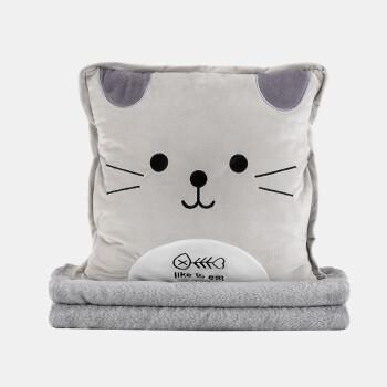 FOOJO卡通抱枕被子两用 办公学生抱枕靠垫 汽车腰靠暖手宝毯子三合一 40*40cm猫咪