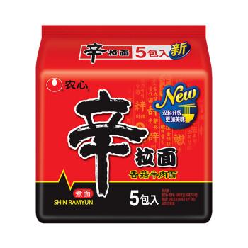 农心(NONG SHIM)  香菇牛肉味辛拉面 方便面 袋面速食零食品 五连包 120g*5包