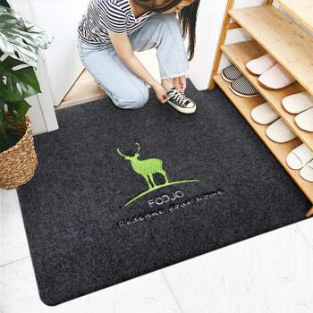 富居玄关地垫 刺绣大门垫 客厅茶几地毯 飘窗毯 鞋柜防尘脚垫 吸水防滑地垫 80*120cm麋鹿