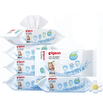 贝亲(Pigeon) 湿巾 婴儿湿纸巾 宝宝湿巾 儿童湿巾 柔湿巾 80片*6包 PL191