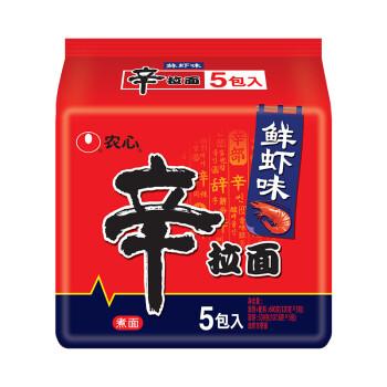 农心(NONG SHIM) 鲜虾口味辛拉面 方便面 袋面速食零食品 五连包 120g*5包