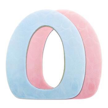 FOOJO富居柔软四季浴室马桶垫子O形马桶贴马桶圈坐便套 粉蓝两件套