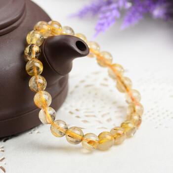 石玥珠宝 7-8mm金发晶手链 富贵吉祥 黄发晶手串 黄色水晶饰品可做情侣款