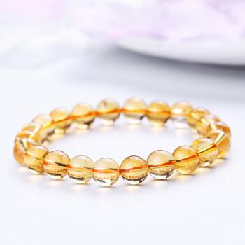 石玥珠宝  8-9mm黄水晶手链 水晶手串 男女款 黄色 8-9mm