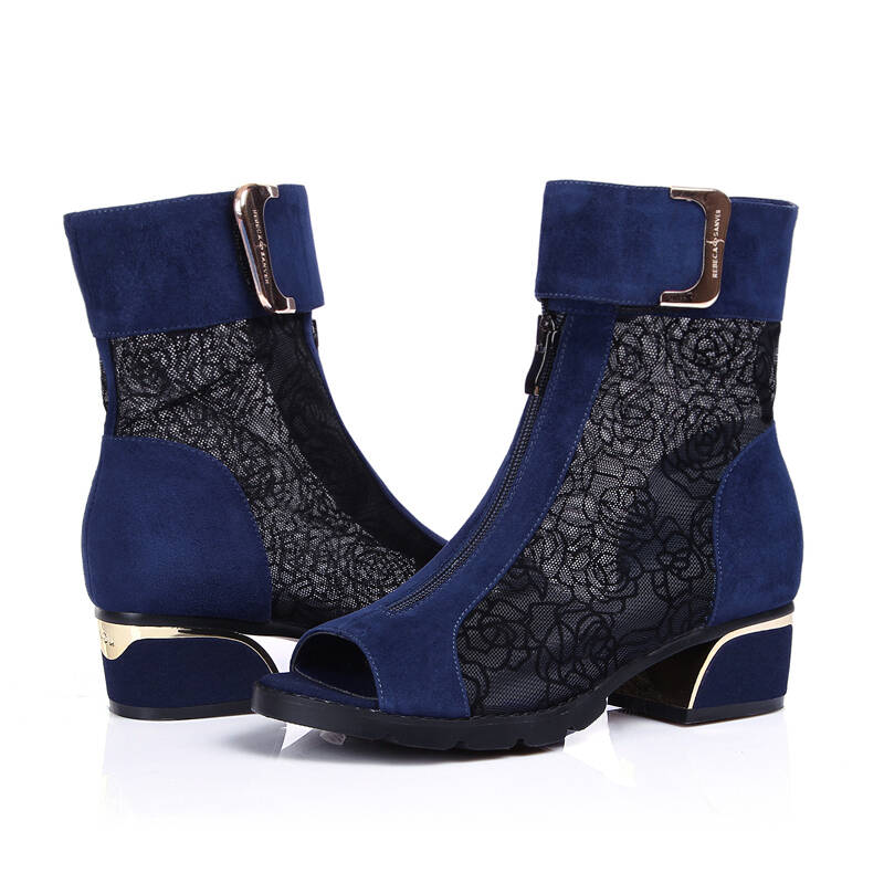 柯百蒂夏天半身春秋季女单靴鱼嘴短靴女靴镂灯芯绒百褶皮靴裙图片